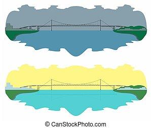 Hercilio Luz Bridge skyline. Day and night. Vector art.
