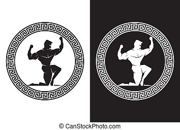 hercules, 以及, 希臘語, 鑰匙, 正面圖