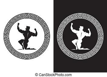 Illustration of Hercules inside a Greek Key back view