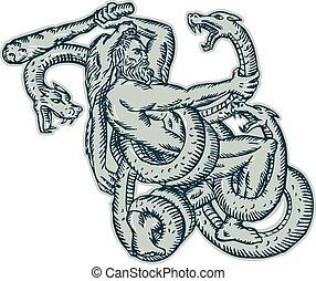 Hercules Fighting Hydra Club - Etching engraving handmade...