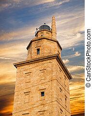 Hercules tower detail in La Coruna, Spain.