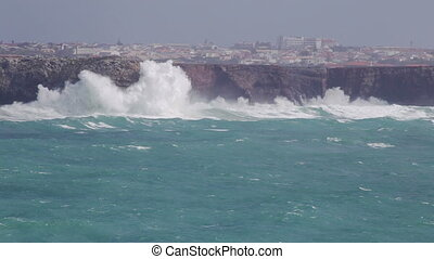 Hercules waves in the storm in Sagres. Costa Vicentina.