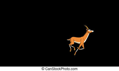 Herd of Antelopes or Gazelles Runs Alpha - Herd of Antelopes...