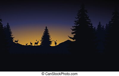 Herd of deer in a mountain landscape with a forest under the morning sky with a rising sun