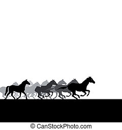 Run of herd of horses across the field. A vector illustration