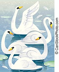 Herd Of Swans Illustration - Illustration of a Group of Swan...