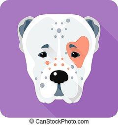 herdershond, centraal, plat, dog, ontwerp, aziaat, pictogram