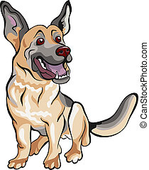 herdershond, duitser, ras, dog, vector, spotprent