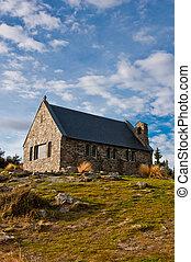 herdershond, meer tekapo, kerk, zeeland, goed, nieuw