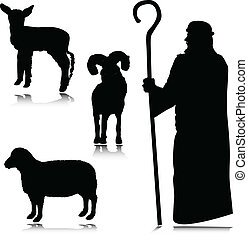 herdershond, silhouettes, vector