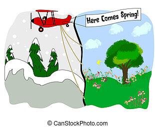 A spring scene in clip art.