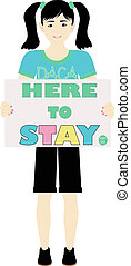 Here to Stay DACA Support Sign Held by Child Illustration