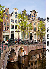 Herengracht Canal Houses in Amsterdam - Bridge and houses...