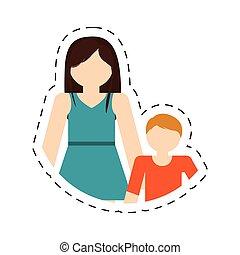 hereniging, moeder, gezin, zoon