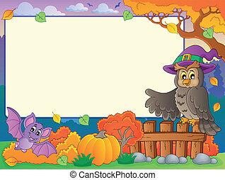 herfst, 5, frame, halloween, thema