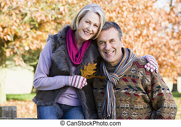 herfst, aanhankelijk, paar, senior, wandeling