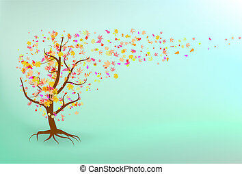 herfst, achtergrond., boompje