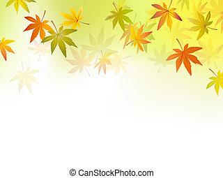 herfst, achtergrond, -, dalingsblad
