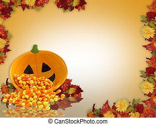 herfst, achtergrond, grens