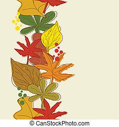 herfst, achtergrond., grens, seamless, verticaal