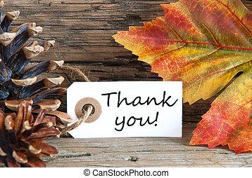 herfst, achtergrond, met, bedankt