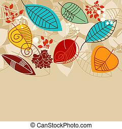 herfst, achtergrond, met, bladeren, in, heldere kleuren