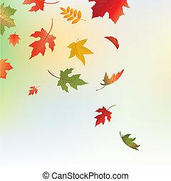 herfst, achtergrond, met, bladeren