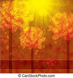 herfst, achtergrond, met, bomen, en, vallende verlofen