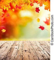 herfst, achtergrond, met, lege, van hout grondslagen