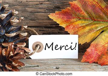 herfst, achtergrond, met, merci, etiket