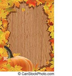 herfst, achtergrond, met, pompoen, op, houten, board.