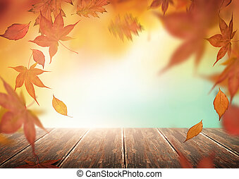 herfst, achtergrond, met, vallende verlofen