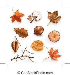herfst, afvalmateriaal, iconen