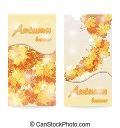 herfst, banieren, abstract, twee