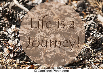 herfst, begroetende kaart, noteren, leven, is, een, reis