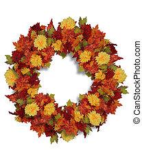 herfst, bloemen, krans