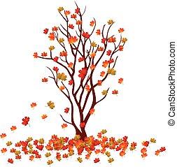 herfst, boom., dalingsbladeren, achtergrond