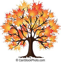 herfst, boom., kunst, esdoorn