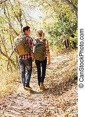 herfst bos, wandelende, paar, jonge