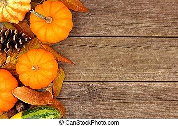 herfst, bovenkant, grens, tegen, rustiek, hout