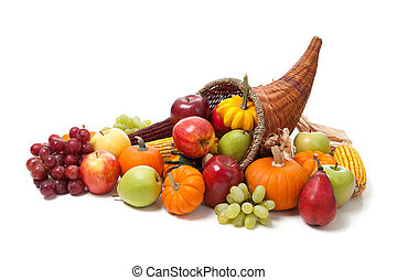 herfst, cornucopia, op, een, witte , back, grond