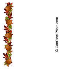 herfst, dalingsbladeren, en, pompoennen