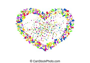 herfst, design., valentijn, frame., illustratie, confetti, vakantie, confetti, hart, trouwfeest, versiering, kleur, groet, heart-shape., grens, dag, romantische, valentines, vrijstaand, liefde, witte , achtergrond., card., vector