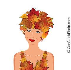 herfst, elegant, meisje, bladeren