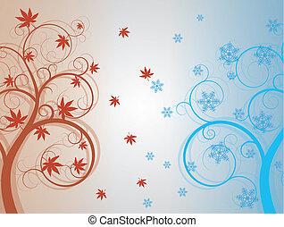 herfst, en, winter boom
