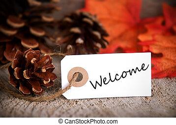herfst, etiket, met, welkom