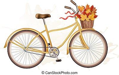 herfst, fiets, leaves., kleurrijke, vector.