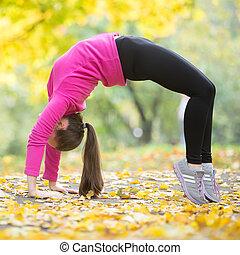 herfst, fitness:, brug, pose