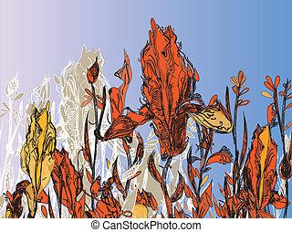herfst, floral