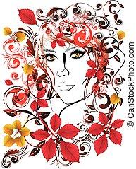herfst, floral, meisje